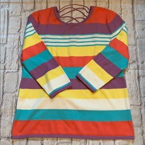 Investments Tops - Investments Striped Lightweight Sweater Lace Back